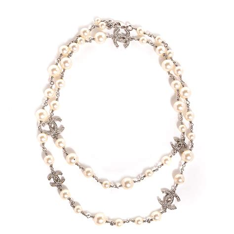 chanel pearl cc necklace silver 88042