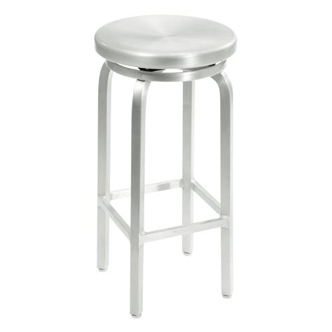 brushed aluminum navy backless swivel bar stool at home decorators collection melanie 30 in brushed aluminum