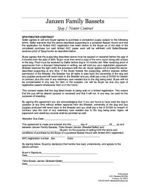Puppy Purchase Contract Forms And Templates Fillable Printable Sles For Pdf Word Pdffiller Spay And Neuter Contract Template