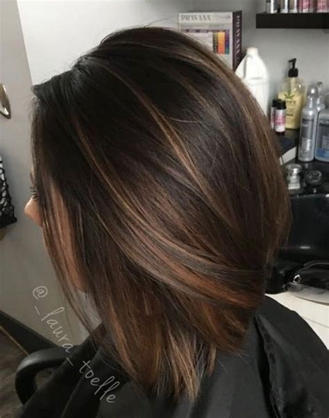 trendy to elegant black hair with caramel highlights trendy hair highlights caramel highlights dark brunette