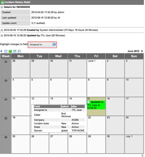 Was The Calendar Changed Viewing A Record S Change History Servicenow Wiki
