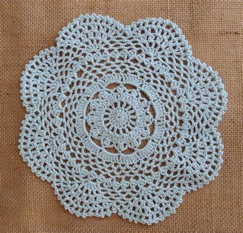 Handmade Crochet Doilies - 8 quot handmade cotton crochet doilies arctic spa blue