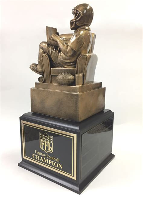 armchair quarterback trophy 14 5 quot inch tall golden armchair quarterback on black base