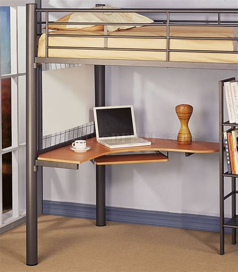 siver metal contemporary loft bed w desk bookcase