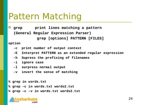 pattern matching linux module 03 programming on linux