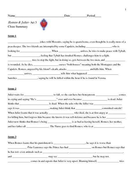 Romeo And Juliet Act 1 Worksheet by All Worksheets 187 Romeo And Juliet Worksheets Printable