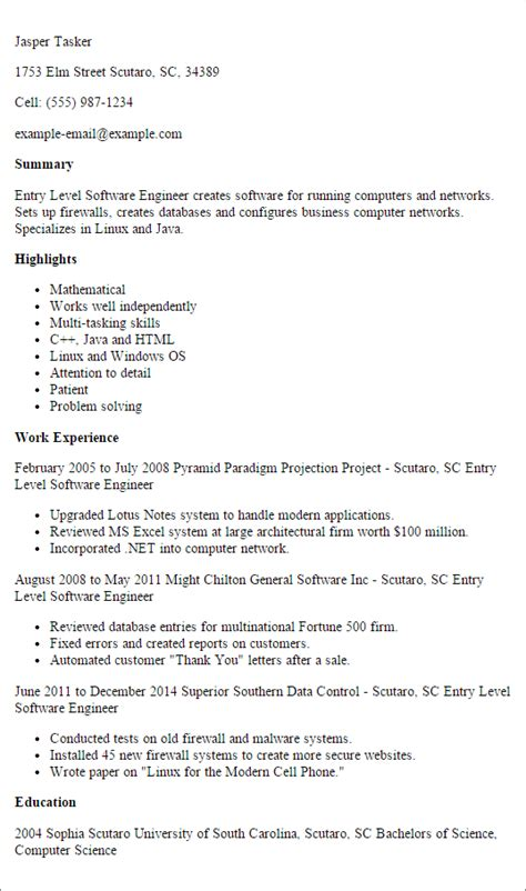 Entry Level Software Engineer Resume by Professional Entry Level Software Engineer Templates To