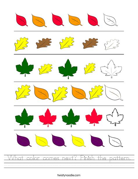 pattern worksheet what comes next what color comes next finish the pattern worksheet