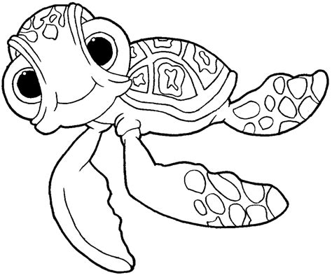 How To Draw Squirt The Turtle From Finding Nemo With Easy Finding Nemo Coloring Page