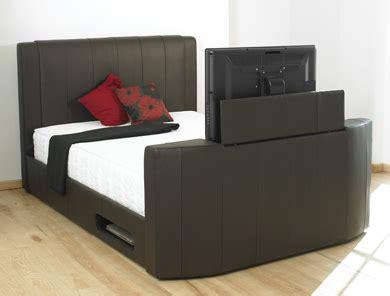 Tv In Bed Frame Sleep Secrets Toronto Brown Leather Tv Bed Frame At Bestpricebeds Co Uk