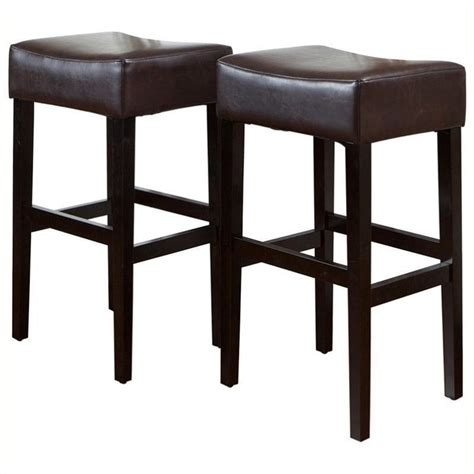 30 backless bar stools bowery hill 30 quot backless bar stools in brown set of 2