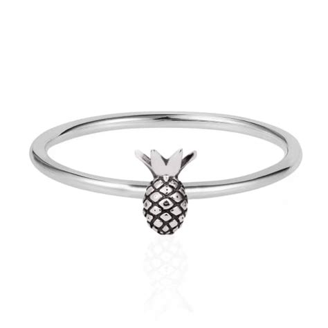 tiny pineapple ring silver renee wolf badger