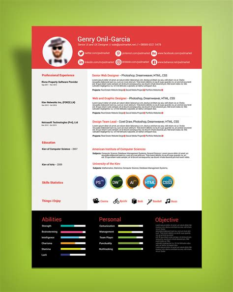 free simple resume design template for ui ux designers