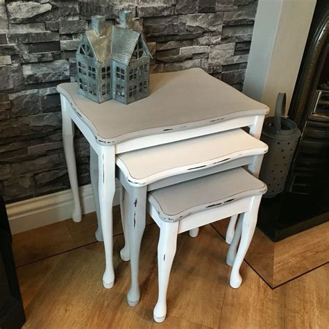 chalk paint nest of tables shabby nest of tables in everlong earl grey and porcelain