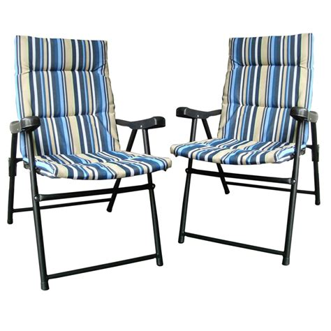 Set Of 2 Padded Folding Outdoor Garden Cing Picnic Padded Folding Patio Chairs