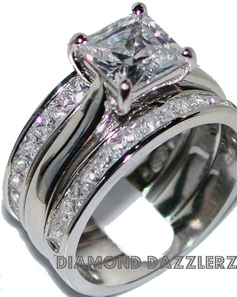 princess cut engagement ring 3 band wedding set sz