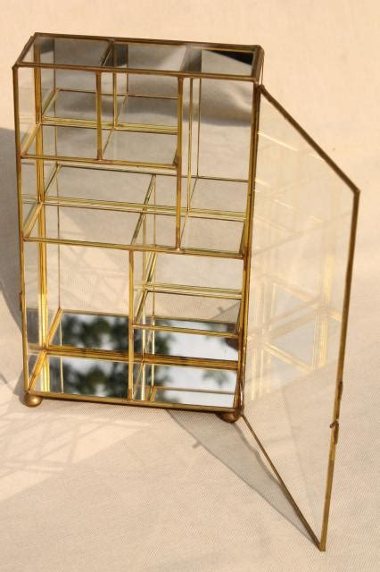 brass and glass display cabinet miniature curio cabinet display case vintage brass
