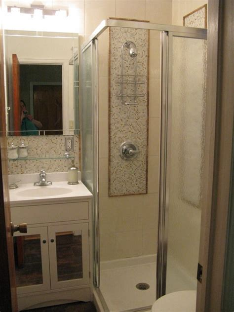 Shower Ideas Small Bathrooms by 3 4 Bath Created From Powder Room Contemporary