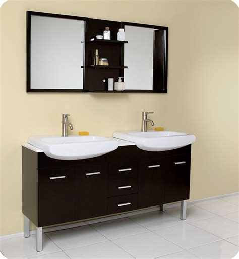 Affordable Variety Fresca Vetta Espresso Modern Double Bathroom Sink With Mirror