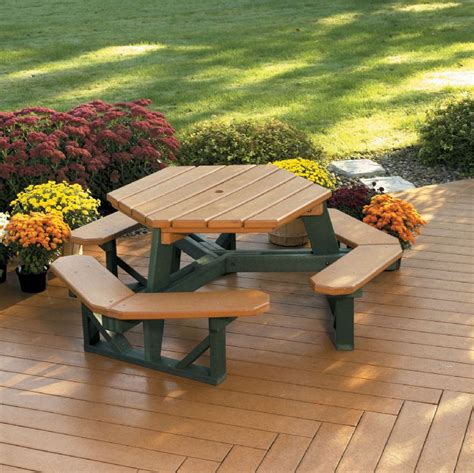 park upholstery hexagon picnic table by american park furniture