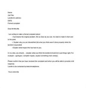 Landlord Tenant Letter Templates by Sle Complaint Letter To Landlord About Tenant Cover