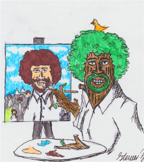 bob ross painting a happy tree painting bob ross with happy trees by crimsonhussar