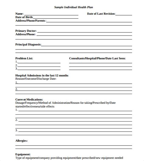 individual health care plan template individual wellness plan template images