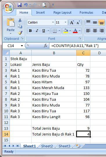 Rak Baju Excel fungsi count dan sum