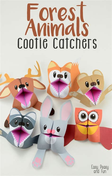 Origami Forest Animals - forest animals cootie catchers origami for