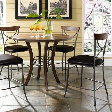 moriann round dining room counter table wood dar target hillsdale cameron 5 piece counter height round wood dining