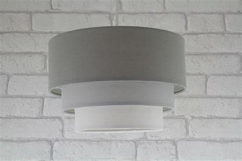 grey ceiling light 11in 28cm 3 tier cotton fabric ceiling lshade pendant