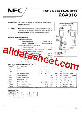transistor equivalent list free 2sa916 datasheet pdf list of unclassifed manufacturers