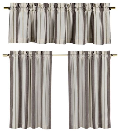 striped kitchen curtains taupe and beige kitchen window curtain set striped design