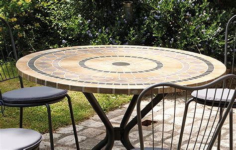 table patio ronde table basse jardin mosaique ezooq