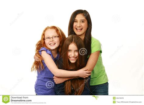 preteen group diverse group of young girls royalty free stock photos