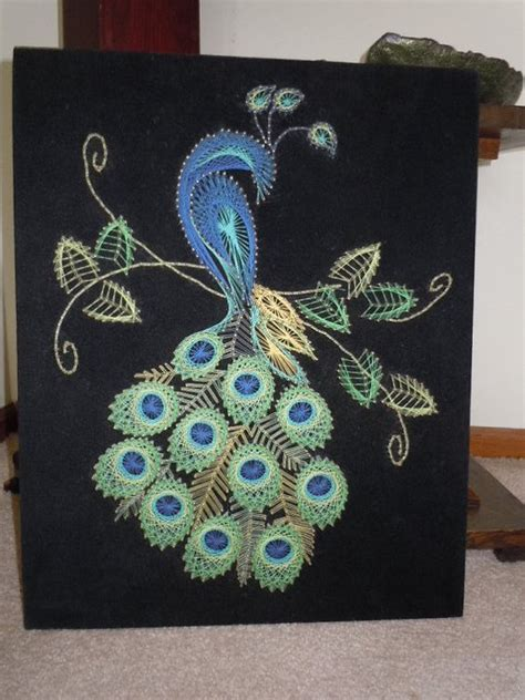 String Peacock Pattern - 30 creative diy string project ideas page 3 of 5