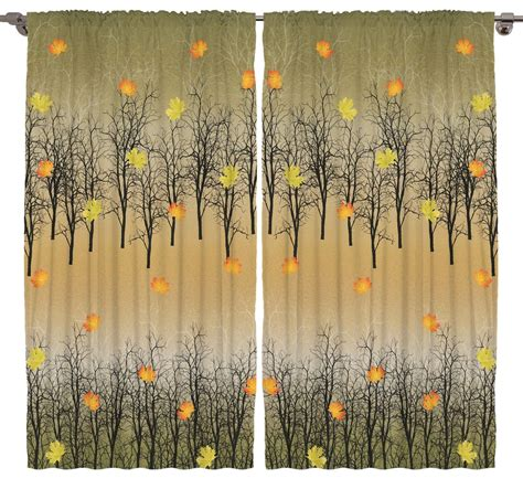 nature pattern window curtains trees in the fall leaves and ombre design decor nature