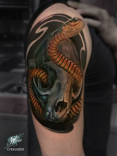 snake and skull tattoo snake skull 3d best design ideas