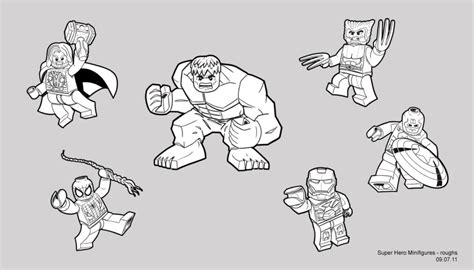 lego marvel hero free colouring pages
