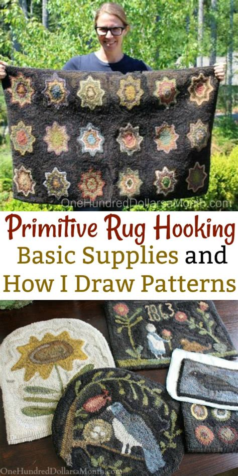 primitive rug hooking supplies primitive rug hooking basic supplies and how i draw patterns one hundred dollars a month