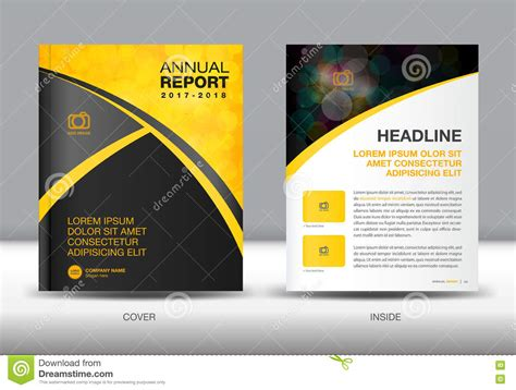 yellow and black annual report template cover design stock