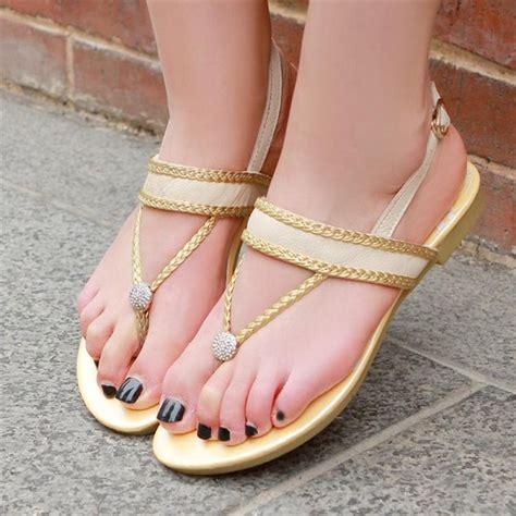 flat heel shoes for womens 2013 genuine leather flip flop flat heel rhinestone