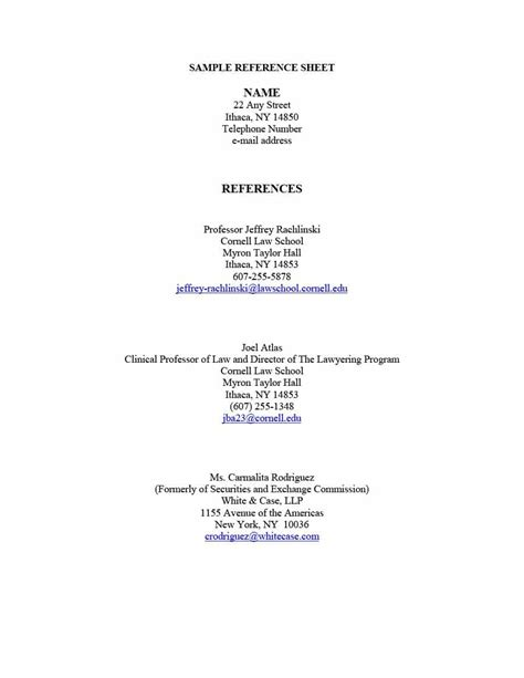 resume reference sheet template reference list for resume