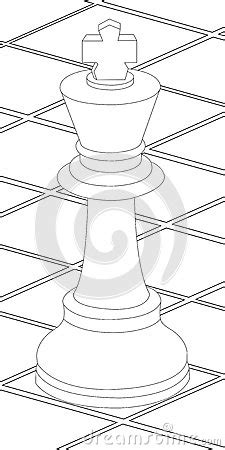 Chess Table And King Coloring Page Stock Vector