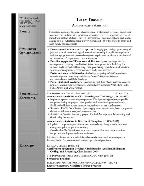 Resume Summary Exles For Assistant Resume Summary Administrative Assistant Administrative