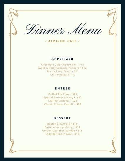 Blank Fancy Menu Template Free Download Aashe Blank Dinner Menu Template