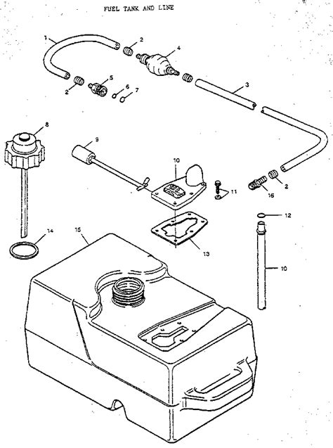 boat fuel tank parts fuel tank and line diagram parts list for model