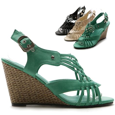 multi colored sandal heels ollio womens wedges high heels buckle open toe sandals