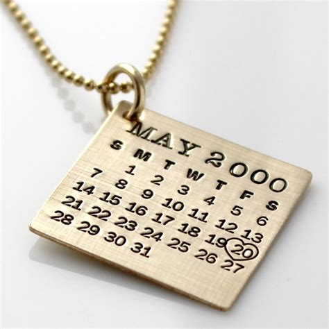 personalized calendar necklace gold filled your by