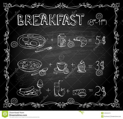 Breakfast Chalkboard Menu Stock Vector Illustration Of Chalkboard Menu Template Free